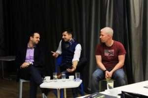 Trojice řečníků (zleva) Filip Dřímalka, Stanislav Gálik a Karel Novotný. Foto: Souboj řečníků Facebook